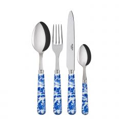 Table fork, spoon, knife, tea spoon - toile de jouy - Blue