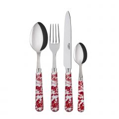 Table fork, spoon, knife, tea spoon - toile de jouy - Red
