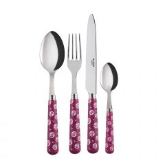 Table fork, spoon, knife, tea spoon - Provencal - Fuchsia