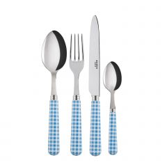 24 pieces set - Gingham - Light blue