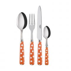 4 pieces set - White Dots. - Orange