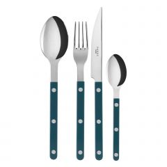 Table fork, spoon, knife, tea spoon - Bistrot shiny solid - Aquamarine