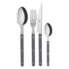 Table fork, spoon, knife, tea spoon - Bistrot shiny solid - Dark grey