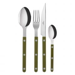 Table fork, spoon, knife, tea spoon - Bistrot shiny solid - Green fern