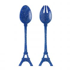 Salad set - Tour Eiffel - Glitter blue